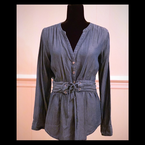 Soho by NY&Co. Tops - EUC- Chambray Top with Attached Corset Belt